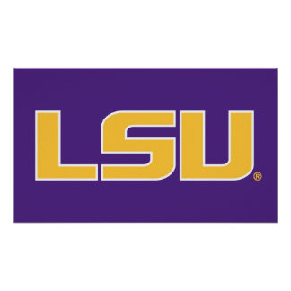 LSU Gold & White Logo Print