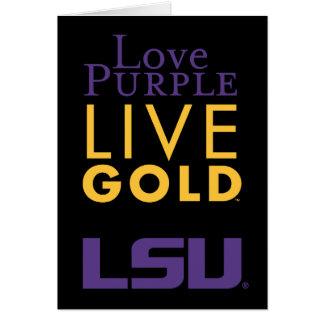 LSU Love Purple Live Gold Logo Card