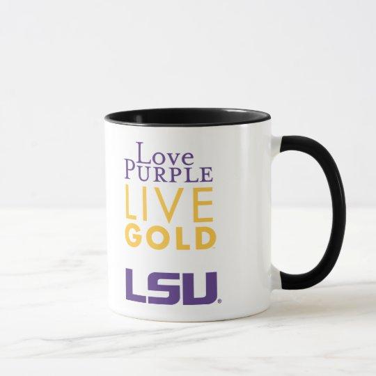 LSU Love Purple Live Gold Logo Mug
