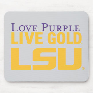 LSU Love Purple Live Gold Stacked Logo Mouse Pad