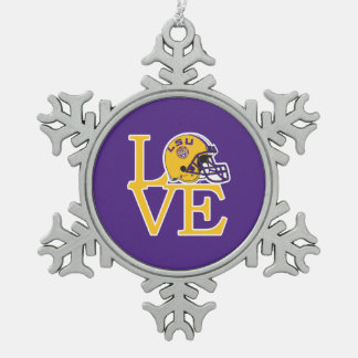 LSU Love Snowflake Pewter Christmas Ornament