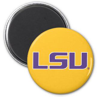 LSU Purple & White Lettering 2 Inch Round Magnet