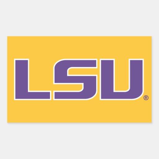 LSU Purple & White Logo Rectangular Stickers