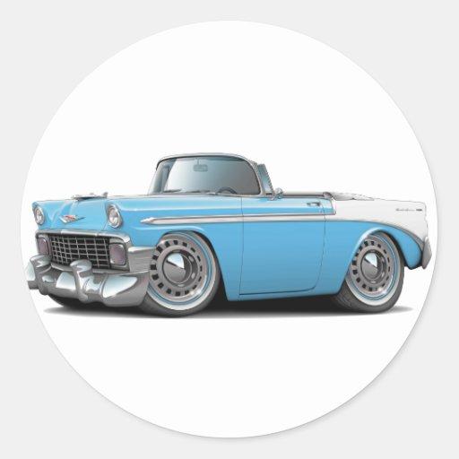 Lt 1956 de Chevy Belair Azul-Blanco Convertible Pegatina Redonda