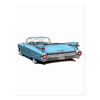 Lt 1959 de Cadillac Blue Car Postales