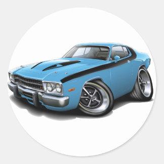 Lt 1973-74 del Roadrunner Azul-Negro Car Pegatina Redonda
