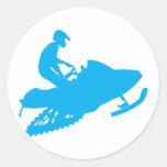 LT-Azul-Snowmobiler Pegatina Redonda