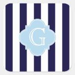Lt blanco Blue Quatrefoil Monogram de la raya de Pegatinas Cuadradases