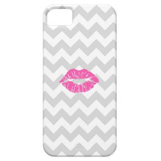 Lt blanco gris Chevron, beso rosado del lápiz labi iPhone 5 Cobertura