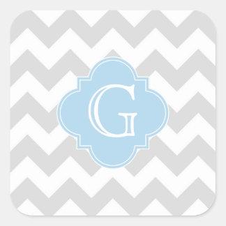 Lt blanco gris claro Blue Quatrefoil Monogram de Pegatina Cuadrada