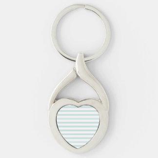 Lt. Blue and White Horizontal Stripe Keychain