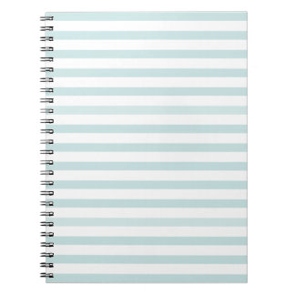 Lt. Blue and White Horizontal Stripe Spiral Notebooks