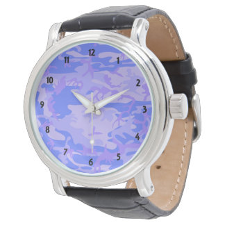 Lt Blue Camouflage Men Vintage Leather Strap Watch