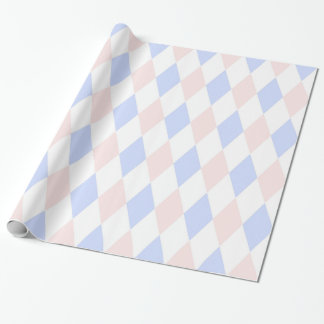 Lt Blue, Lt Pink, Wht Harlequin Diamond Pattern Wrapping Paper
