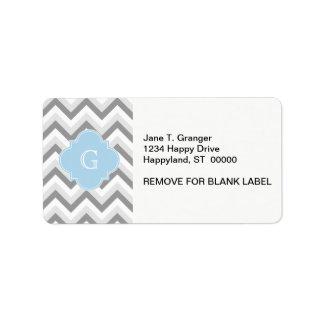 Lt Blue Monogram de Chevron del Lt dos blanco gris Etiqueta De Dirección