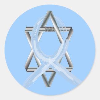Lt Blue Prostate Cancer Ribbon Classic Round Sticker