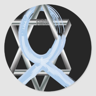 Lt Blue Prostate Cancer Ribbon Classic Round Sticker
