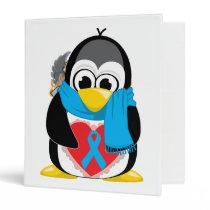Lt Blue Ribbon Penguin Scarf 3 Ring Binder