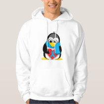 Lt Blue Ribbon Penguin Scarf Hoodie