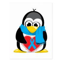 Lt Blue Ribbon Penguin Scarf Postcard