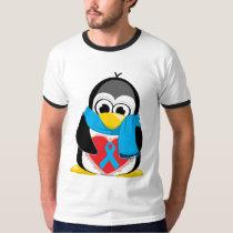 Lt Blue Ribbon Penguin Scarf T-Shirt