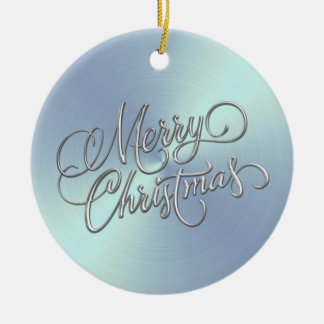 Lt Blue Sheen and Silver Merry Christmas Ceramic Ornament
