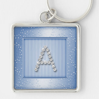 Lt Blue Shimmer and Sparkle with Monogram Keychain