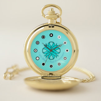 Lt Blue / Teal Clover Ribbon (Bf) by K Yoncich Pocket Watch