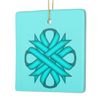 Lt Blue/Teal Clover Ribbon by K Yoncich Ceramic Ornament