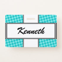 Lt Blue / Teal Clover Ribbon by Kenneth Yoncich Badge