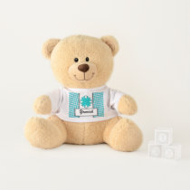 Lt Blue / Teal Clover Ribbon by Kenneth Yoncich Teddy Bear