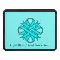 Lt Blue/Teal Clover Ribbon by Kenneth Yoncich Trailer Hitch Cover