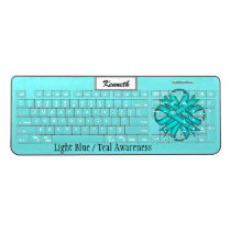 Lt Blue / Teal Clover Ribbon by Kenneth Yoncich Wireless Keyboard