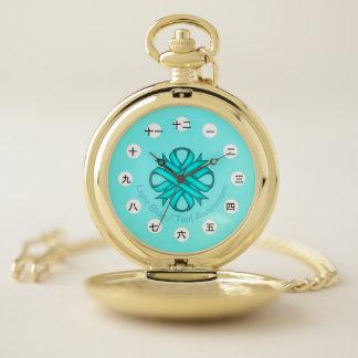 Lt Blue/Teal Clover Ribbon (CHN/JPf) by K Yoncich Pocket Watch