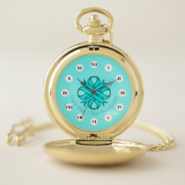Lt Blue / Teal Clover Ribbon (Rf) by K Yoncich Pocket Watch
