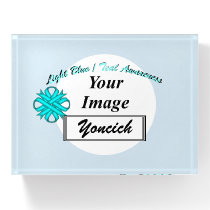Lt Blue/Teal Clover Ribbon Tmpl by Kenneth Yoncich Paperweight