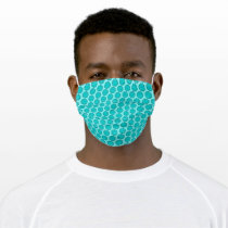 Lt Blue/Teal Flower Ribbon by Kenneth Yoncich Adult Cloth Face Mask