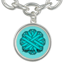 Lt Blue / Teal Flower Ribbon by Kenneth Yoncich Charm Bracelet
