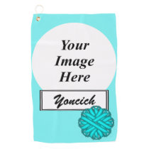 Lt Blue / Teal Flower Ribbon by Kenneth Yoncich Golf Towel