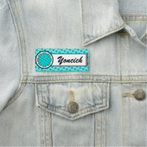 Lt Blue/Teal Flower Ribbon by Kenneth Yoncich Name Tag