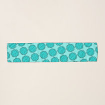 Lt Blue / Teal Flower Ribbon by Kenneth Yoncich Scarf