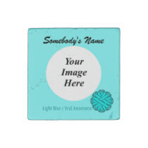 Lt Blue / Teal Flower Ribbon by Kenneth Yoncich Stone Magnet
