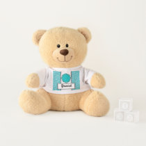 Lt Blue / Teal Flower Ribbon by Kenneth Yoncich Teddy Bear