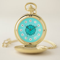 Lt Blue / Teal Flower Ribbon (Cf) by K Yoncich Pocket Watch
