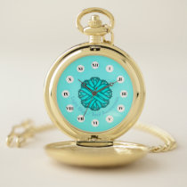 Lt Blue / Teal Flower Ribbon (Rf) by K Yoncich Pocket Watch