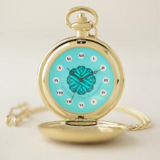 Lt Blue / Teal Flower Ribbon (Rf) by K Yoncich Pocket Watch