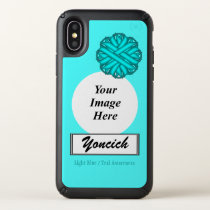 Lt Blue/Teal Flower Ribbon Template by K Yoncich Speck iPhone X Case