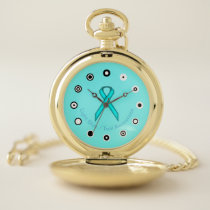 Lt Blue / Teal Standard Ribbon (Bf) by K Yoncich Pocket Watch