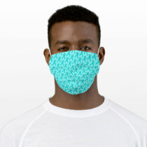 Lt Blue/Teal Standard Ribbon by Kenneth Yoncich Adult Cloth Face Mask