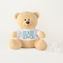 Lt Blue / Teal Standard Ribbon by Kenneth Yoncich Teddy Bear